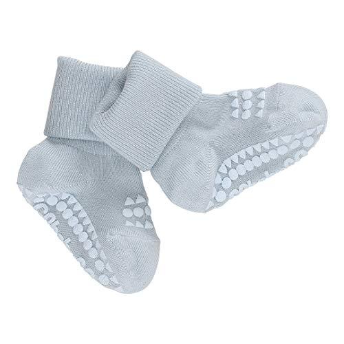 GoBabyGo Original Rutschfeste Baby Krabbelsocken | Rutschfeste Krabbelstütze für aktive Kinder | Bambus-Baumwolle | 6-12 Monate (17-19cm) | Himmelblau