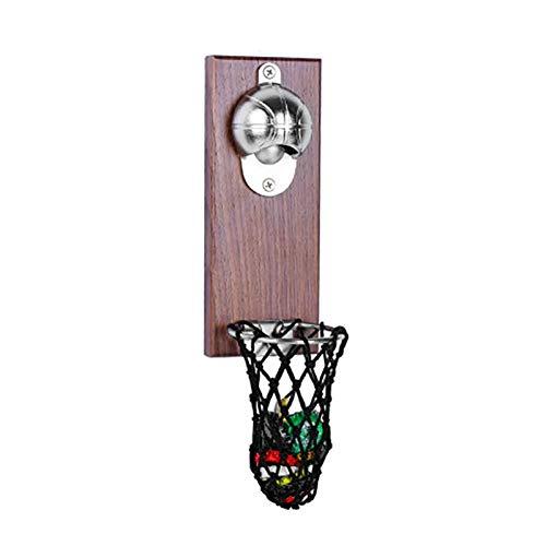OURLITIME - Apribottiglie da basket con tasca da parete per decorare la casa, per vino, birra, calamita da cucina, gadget per feste