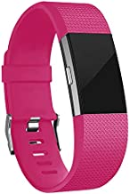 iGK Replacement Bands Compatible for Fitbit Charge 2, Adjustable Replacement Bands with Metal Clasp Classic Edition Rose Small