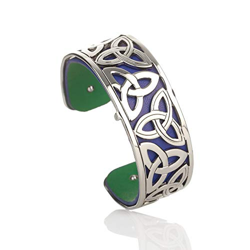 Triskele Armreif aus Irland - keltische Muster - Metall & Leder in blau & grün