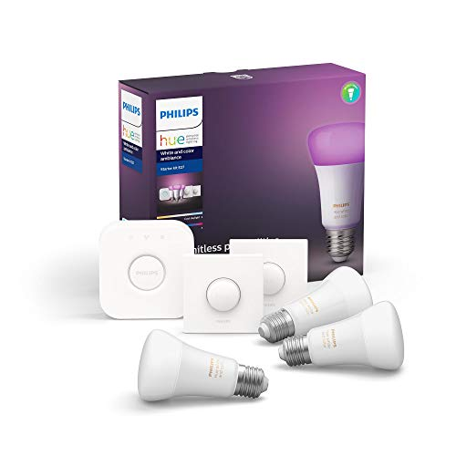 Philips Hue White & Color Ambiance E27 LED 3-er Starter Set, dimmbar, 16 Mio. Farben, steuerbar via App, kompatibel mit Amazon Alexa (Echo, Echo Dot)