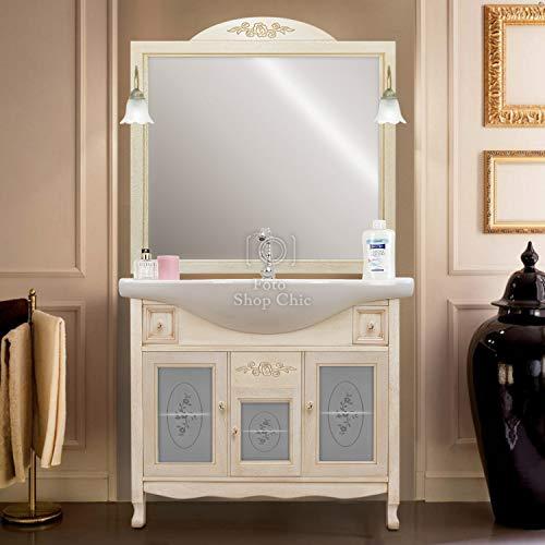 Shop Chic Mobile da Bagno decapato Intagliato con lavabo e Specchio con Applique