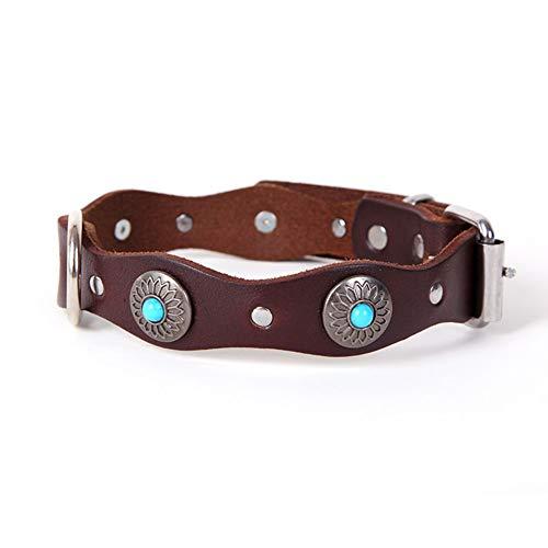 Egurs Luxury echt leer hondenhalsband handgemaakte vintage golfvorm met turquoise halsband voor middelgrote en grote honden