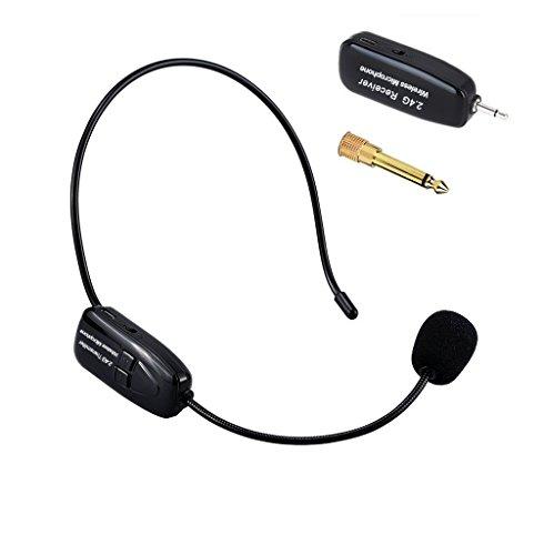 Tmei 2.4G ワイヤレス マイク ヘッドセット ヘッドセットマイク ロフォン ステージ ポータブル拡声器 高音質 無線 軽量 3.5 mmステレオミニプラグ ブラック (ブラック)