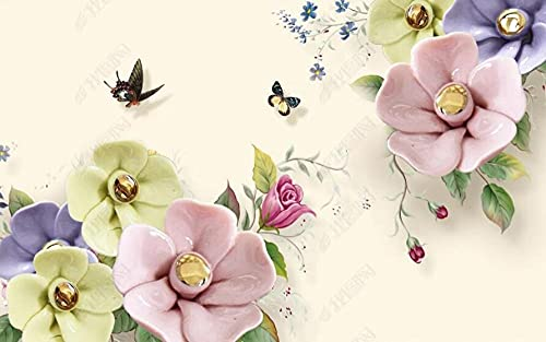 Wallpaper 3D Wallpapers for Walls Mural Relief Effect Colored Flowers and Butterflies Wall Murals for Bedrooms and Living Room Tv Background Wall Mural Decoration Art 250cmx175cm