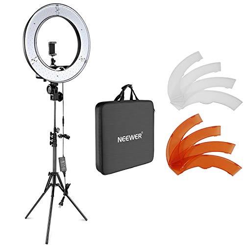 Neewer カメラ写真ビデオ用照明セット 18インチ/48cm外部55W 5500K調光LEDリングライト、ライトスタンド、...