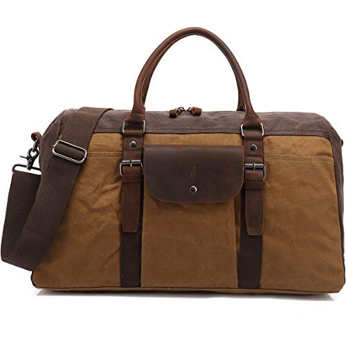 BLUBOON Overnight Bag Carry on Travel Duffel Waterproof Canvas Genuine Leather Men and Women Weekender Tote (Khaki)