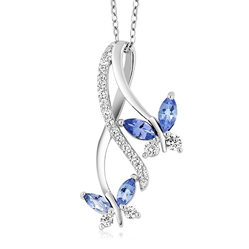 Gem Stone King Blue Tanzanite 925 Sterling Silver Butterfly Infinity Pendant Necklace 1.21 Ct Marquise Cut Gemstone Birthstone with 18 Inch Silver Chain