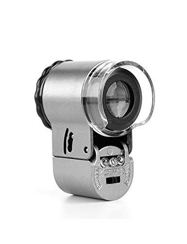 CQH Lupa Micro de Alta definición de 50 Veces, Fuente de luz de Dos Colores, Mini microscopio, joyería filatélica portátil, Sello de Humo de té, identificación de Impresiones de Billetes, etc.