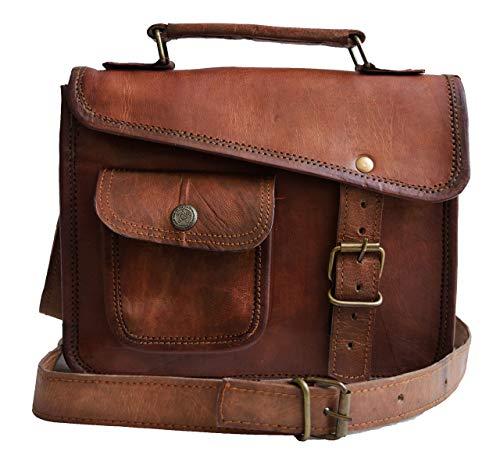 JAALD 33 cm echt Leder Laptoptasche Umhängetasche Schultertasche Kuriertasche FahrradTasche Schultasche Wasserdicht Vintage Herren Damen Geschenk XL Leather Messenger Bag