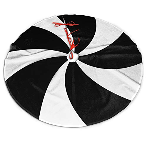 MSGUIDE Patchwork White and Black Lollipop Design Christmas Tree Skirt Large Tree Mat for Xmas New Year Festive Holiday Party Decorations 48 Inch