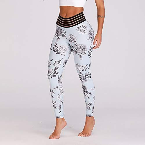 Leggins Mujer Push Up Cintura Media Estampado de Flores Polainas Deportivos de Yoga Fitness Elásticos Suaves Mallas Deporte Mujer Blanco