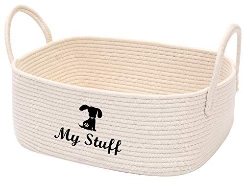 Geyecete Hundespielzeug Seil Baumwollkorb Baumwollseil Aufbewahrungskorb Haustierspielzeug Box Hundekorb Aufbewahrungskorb Hundespielzeug Aufbewahrungskorb - Beige