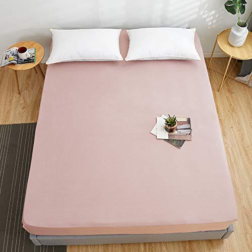 Bolo Sábana bajera ajustable 100 % algodón de fibras largas, suave tejido de satén, 101 % algodón (rosa claro, 150 x 200 x 25 cm)