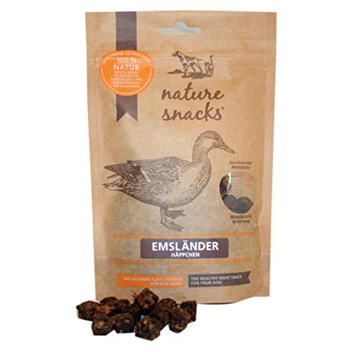Nature Snack - Emsländer Häppchen   Fleisch Pur 4 x 150 g Ente Vorteilspack - Der Getreide- und glutenfreie Fleischsnack für Hunde (Ente)
