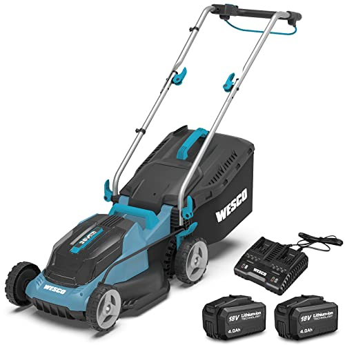 Cordless Lawnmower 36V, WESCO Battery-Powered Mower with 2Pcs 4.0Ah Li-Ion Battery, 34cm Cutting Width up to 290m², 6-Stage Cutting Height Adjustment (33-83mm), 30 Litre Grass Box, Foldable Handle