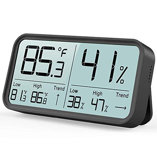 BFOUR Termómetro higrómetro digital para interior, termómetro e higrómetro para control de la temperatura de la habitación, monitorización del aire ambiente, color negro 1 unidad de color negro.