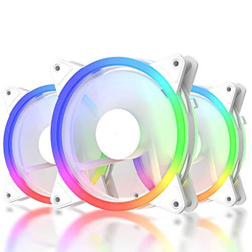 upHere 3-Pin RGB LED Lüfter 120 mm hoher Luftstrom und leiser Lüfter 3er Pack, RGB06-3