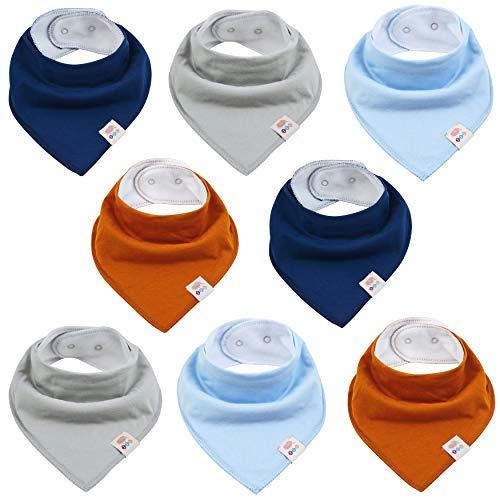 M.M.C. Baby einfarbige Dreieckstücher 8 Stück Halstuch aus Baumwolle mit verstellbaren Druckknöpfen Spucktuch Lätzchen für Kleinkinder Jungen und Mädchen (Set Junge)