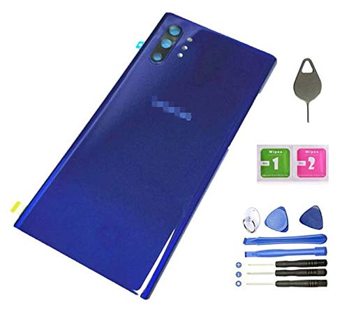 Price comparison product image Galaxy Note 10+ Back Cover Glass Housing Door Replacement with Tape Parts for Samsung Galaxy Note10+ Plus Note 10+ SM-N9750 / DS +Tool + Eject Pin (Aura Blue)