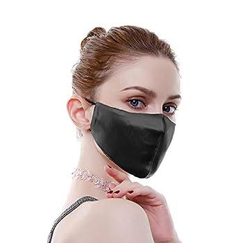 100% Mulberry Silk Resuable Sensitive Face Masks for Women Washable Luxury Face Scarf Adjustable Bandanas Unisex,Black