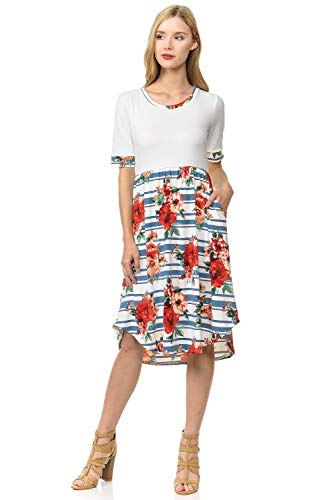 Pastel by Vivienne Women's Contrast Binding and Skirt Midi Dress Small Floral Denim Striped