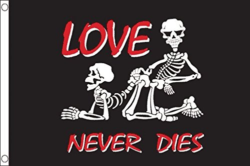 AZ FLAG Flagge Pirat Love Never Dies 150x90cm - Piraten Totenkopf Fahne 90 x 150 cm - flaggen Top Qualität