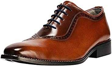 LIBERTYZENO Oxford Dress Shoes for Men Genuine Leather Burnished Toe Lace up Formal Business Shoes Tan