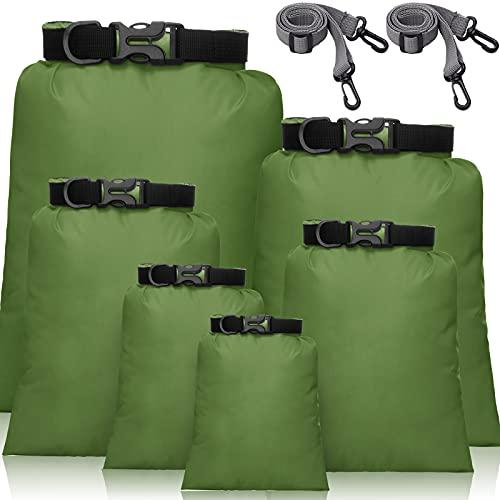 Set de 6 Bolsas Secas Impermeables Set Combinado Ligero con Sacos de 15 L, 8 L, 5 L, 4 L, 3 L, 2 L y 2 Correas de Hombro Larga Ajustable para Kayak, Rafting, Canotaje (Ejercito Verde)