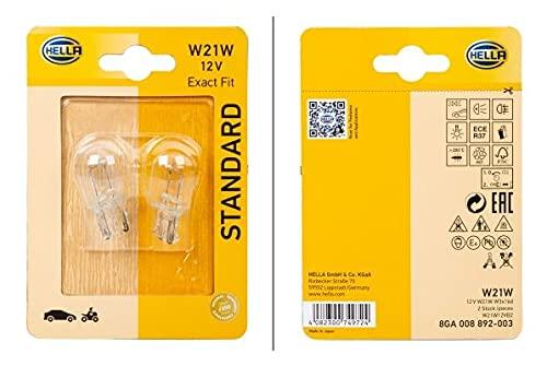 HELLA 8GA 008 892-003 Lampadina - W21W - Standard - 12V - 21W - Tipo zoccolo: W3x16d - Blister - Quantità: 2