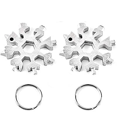 18-in-1 Stainless Steel Snowflake Multi-Tool,Portable Keychain screwdriver Bottle opener Tool for Military Enthusiasts,Outdoor EDC Tools,Christmas Gift (2 Pack Silver)