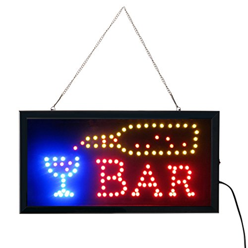 Led Bar signs,Bar Open Sign Led Neon Light Sign Electric Display Sign 19x10inch Two Modes Flashing & Steady Light for Business