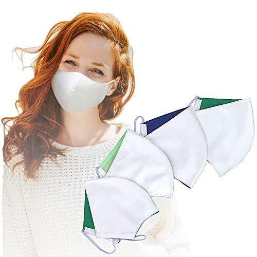 4er Set Community Maske | bis zu 76% dickeres Material | Mund und Nasenschutz waschbar | Mundschutz Maske weiß für Damen & Herren | Behelfsmaske Gesichtsmaske waschbar | Mund Nase Masken Baumwolle