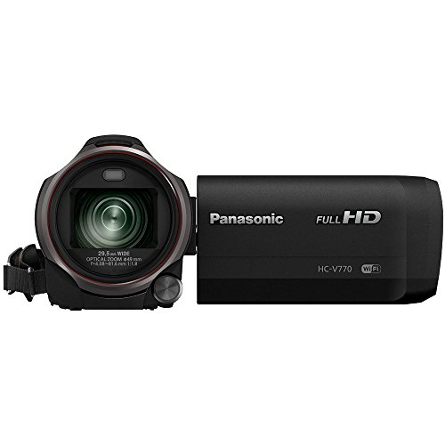 Panasonic HC-V770K HD Camcorder with Wireless Smartphone Twin Video Capture Bundle with 64GB Memory Card, 60 Inch Camera Tripod, 49mm UV, Polarizer & FLD Deluxe Filter Kit and Accessories (7 Items)