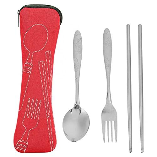 RWEAONT Cuchara de Acero Inoxidable de Acero Inoxidable Multifuncional Palillos de Tenedor con Bolsa de Almacenamiento Cubiertos Cubiertos Conjunto de Utensilios de Cocina (Color : Red)