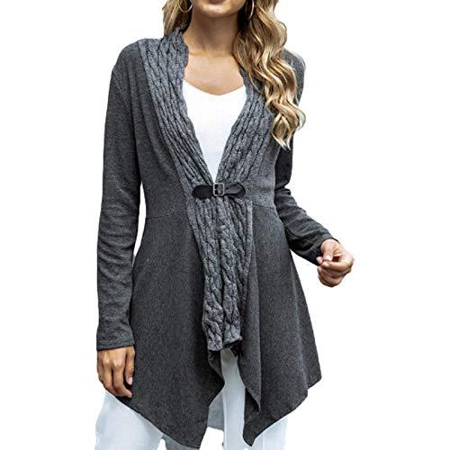 Katenyl Abrigo de punto irregular con costura para mujer, ropa de calle de color slido, moda, chaqueta ajustada a la moda, Europa y Amrica S