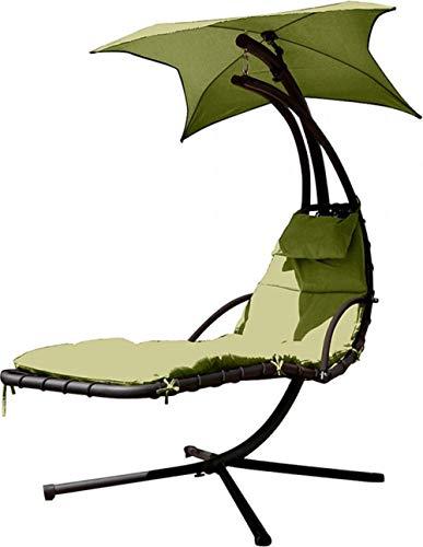 AP Auple Outsunny Sonnenliege Gartenliege Relaxliege mit Sonnendach Garten Stahl Grau 200 * 103 * 180cm@Grün