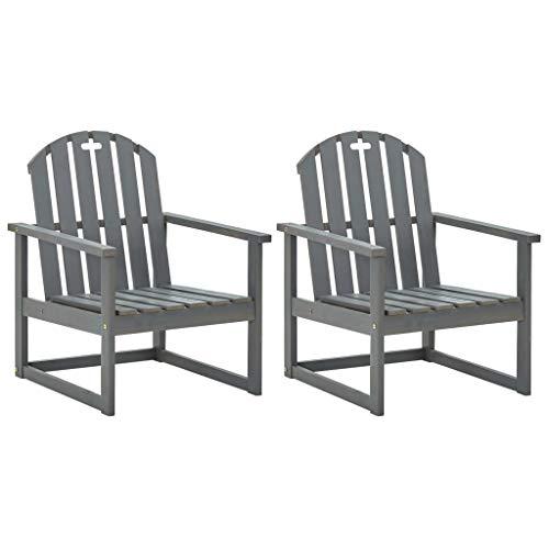 vidaXL 2X Akazienholz Massiv Gartenstuhl mit Armlehnen Stuhl Stühle Gartensessel Sessel Gartenmöbel Gartenstühle Balkonstuhl Terrasse Grau