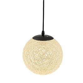 MagiDeal Lampe de Table en Rotin avec Câble Boule de Globe Plafond Suspension 20cm – Beige