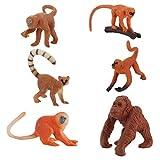 TOYANDONA - Set di 6 pirottini in plastica a forma di scimmia, motivo: animali e scimmia, ...