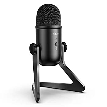 FIFINE USB Podcast Microphone for Recording Streaming on PC and Mac,Condenser Computer Gaming Mic for PS4.Headphone Output&Volume Control,Mic Gain Control,Mute Button for Vocal,YouTube K678