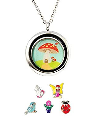 Fairy Garden Gift Locket including 5 magical enamelled charms. Fulfil every little girl's dream. Includes a fairy, unicorn, flower, lady bug & bird floating charms set in front of a mushroom house.