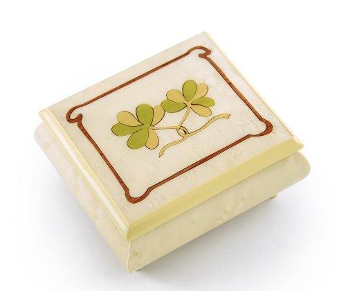 Astonishing Hand Inlay of an Irish Celtic Shamrock Sorrento Musical Box - Many Songs to Choose - Rose