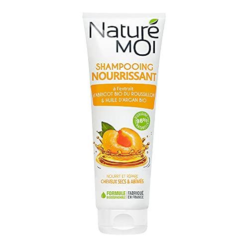 Naturé Moi – Shampooing nourrissant à l'extrait d'abricot bio et d'huile d'argan bio – Nourrit et répare les cheveux abîmés ou secs – 250ml