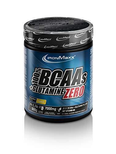 IronMaxx 100% BCAAs + Glutamine Zero - Dose - 500 g Pulver - Mango - BCAAS + Glutamin in Pulverform mit Geschmack - Designed in Germany