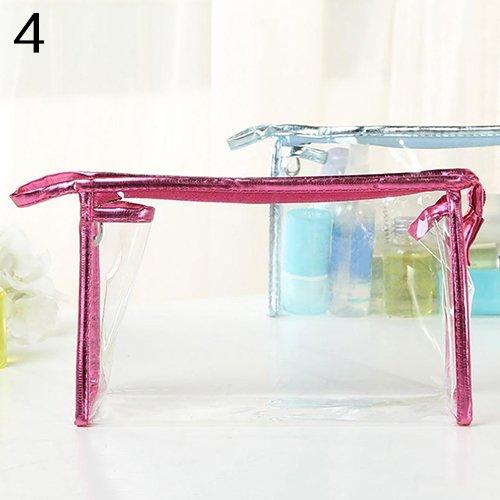 Trousse trasparente impermeabile per cosmetici, in PVC, con cerniera, da viaggio, per vacanze, organizzazione, bagno Rosso rosato