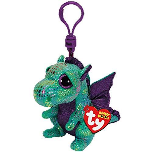 "Ty Beanie Boos Big Eyes Plush Dog Keychain Doll Unicorn Penguin Leopard Owl Monkey Clip Toys 4"" 10cm (Cinder Dragon K) -  Green Riverside"