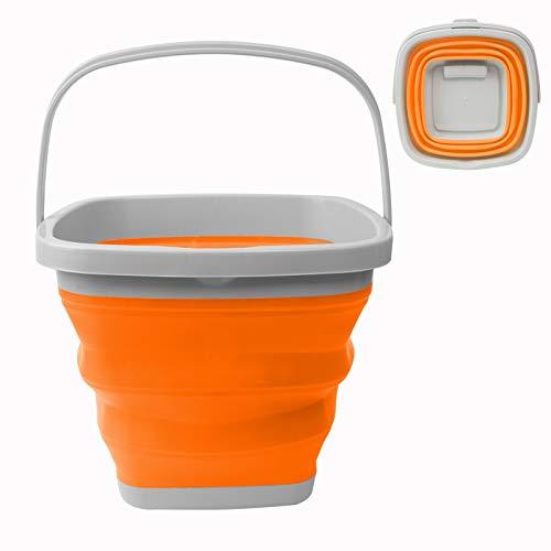 RYHX Cubo De Agua De Silicona Plegable De 10L, Cubo Multifuncional, Cuadrado, Cubo Para Limpiar En Casa, Contenedor De Agua PortáTil, Camping, Pesca, Lavado De Autos, Cocina(Naranja )