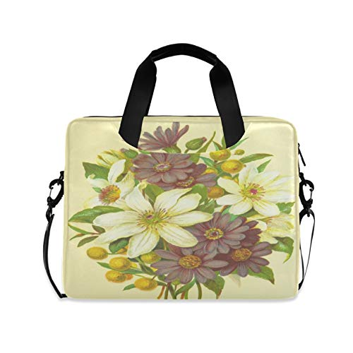 Hand Painted Flowers 16 inch Laptop Shoulder Bag Travel Laptop Briefcase Carrying Messenger Bags