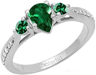 Dazzlingrock Collection 18K 7X5 MM Pear Lab Created Gemstone & Round Diamond Bridal 3 Stone Engagement Ring, White Gold